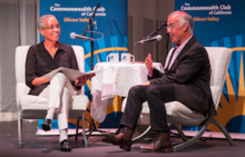 Judge LaDoris Cordell (left) interviews David Brooks at The Commonwealth Club