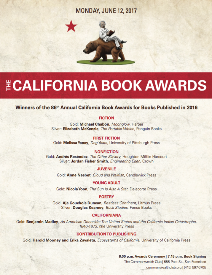 Winners of the 86th Annual California Book Awards
